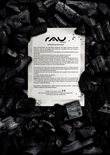 RAU Blackhead Clearing Mask - kohlebasierte Peel-off Maske zur porentiefen Reinigung